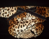 Dog Diapers Britches or Panties Ultra Soft Cheetah Faux Fur in Golden Brown and Black