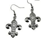 SALE 50% OFF Gothic Lolita Earrings - Heraldic Gunmetal Fleur De Lis Earrings with Matching Ear Wires - by Ghostlove