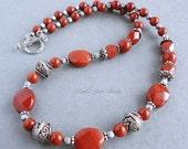 Red Jasper Semi-precious Gemstone Necklace, Artisan Metal, Handmade Jewelry