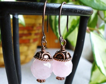 Rose Quartz Earrings in Antiqued Genuine Copper, Pink Gemstone Earrings, Handmade, Earrings for Mom