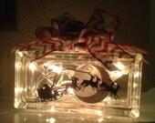 Santa and Reindeer Flying Lighted Glass Block