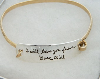 Handwriting Bracelet In Memory Sterling Silver and Gold Personalized Handwriting Jewelry