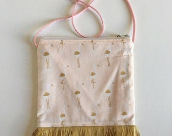 Little Girls Purse navy with flamingos pink and gold fringe