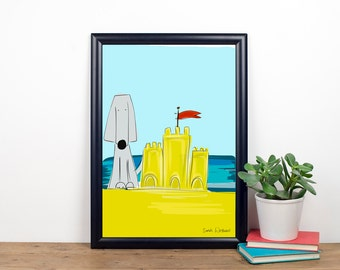 Building Sandcastles - Sprocket Print, weimaraner, seaside, beach, sandcastles.