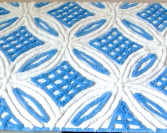 Gorgeous Blue and White Wedding Ring Plush Vintage Chenille Bedspread Fabric 22 x 24  Inches