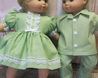 Pastel Green Pin Dot Outfits for Bitty Baby Twins Dolls