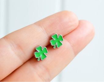Shamrock clover leaf earrings - Irish St. Patrick's Day handmade tiny enamel studs/posts kawaii hipster trendy miniature