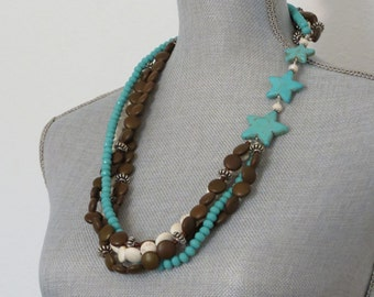 Asymmetric Turquoise Star Necklace with Brown and White Magnesite and Turquoise Crystals and Earrings