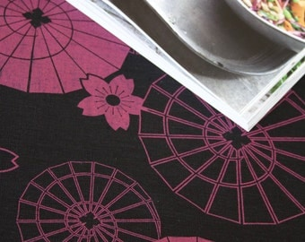 Japanese Umbrella Red on Black Linen Tea Towel