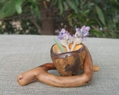 Tiny succulent pot holder or miniature vase on artistic wood base - sacred gifts of Mother Earth