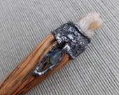 Crystal wand -  magical wood holding Quartz Crystal, Kyanite / Chrysoprase - sacred tool for ritual, meditation and healing