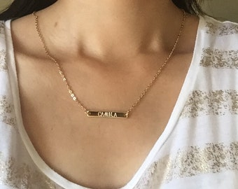 Personalized name Delicate Horizontal Bar Necklace Gift Custom Hand Stamp
