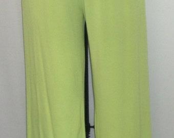 Plus Size Pants ,Coco and Juan, Plus Size Pant, Lagenlook, Kiwi Green Traveler Knit Full Leg Pant Longer Length Size 1 fits 1X,2X