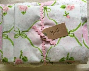 Vintage Full sheet set - full flat sheet - full fitted sheet - vintage pillowcases