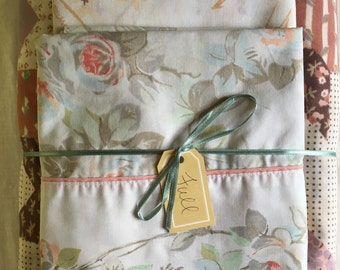 Vintage Remixed Full sheet set in patchwork flowers / full flat sheet / full fitted sheet / two vintage pillowcases