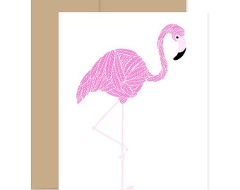 Pink Flamingo Card, Flamingo Greeting Card, Pink Bird Card, Just Because Card, Blank Greeting Card, Fancy Bird Card, Birds of Paradise