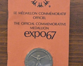 EXPO 67 Official Commemorative Medallion / Collectibles / Worlds Fair / Vintage