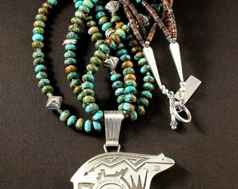 Sterling Silver Navajo Bear Pendant with 3 Strands of Kingman Turquoise Rondelles, Pen Shell Heishi and Sterling