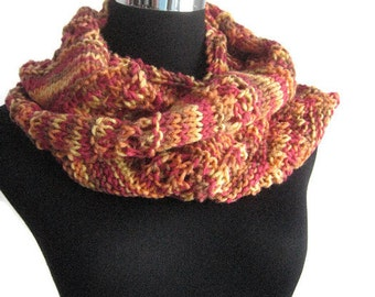 Orange Print Lace Striped Infinity Scarf, The Stacey Scarf, Knit Circle Scarf, Womens Accessories, Knit Cowl Scarf, Knit Accessories