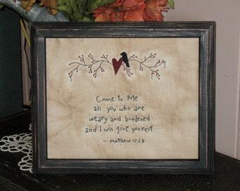 Primitive Stitchery - Black Crow, Pip Berry Vine, Matthew 11:28, Come to Me, Primitive Decor, Rustic Decor