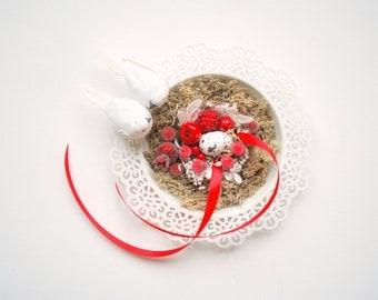 love nest, winter wedding ring bearer pillow, white dove birds, woodland rustic wedding, burgundy red white wedding, wedding party decor