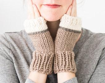 Knitted Fingerless Gloves, Colorblock Wool Winter Fingerless Mittens - Phlox Mittens