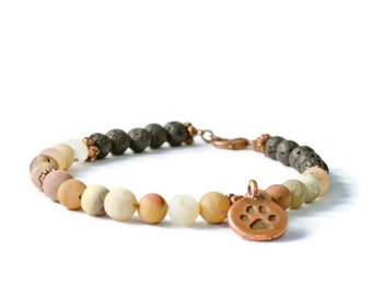 Frosted Agate & Lava Stone Aromatherapy Diffuser Charm Bracelet