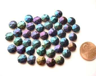 Nailhead Beads Art Deco Irridescent Peacock Colors Nail Head Bead 40 count