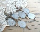 catholic medal earrings chandelier cross assemblage religious charm