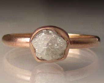 Raw Diamond Engagement Ring, Raw Diamond Ring, 14k Rose Gold Rough Diamond Ring , 1.50 Carats