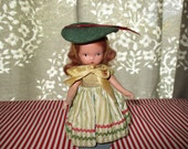 "Nancy Ann Storybook Doll Bisque FREE SHIPPING, 5 1/4""h Redhead, Original Outfit, Early NASD, Story Book"