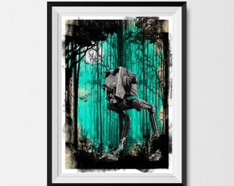 Star Wars, Print, Inspired, Forest Moon, Endor, A3, Star Wars Print, Star Wars Poster, Star Wars Gift, Star Wars Wall Art, Man Cave Poster