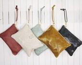 Leather Wristlet Zipper Bag Large Chevron Micro Rivet Detail Brass Zipper Closure Available in 40 Colors