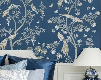 Birds and Roses Chinoiserie Wall Mural Stencil - Better than Wallpaper - Stencil for DIY Home Decor