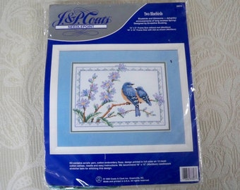 "Craft Supplies Counted Cross Stitch Kit ""Two Bluebirds"" Made in USA"