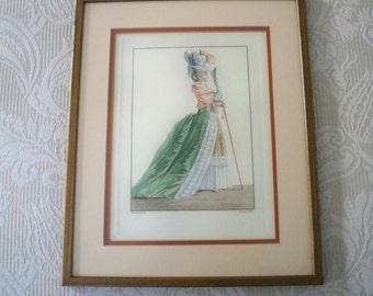 Vintage Art Framed Print French Fashion Marie Antoinette Style #2