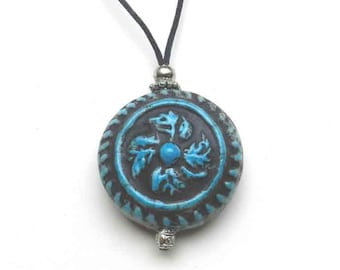 Tuquoise Swirl Medallion Urn