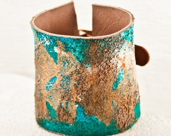 Native Leather Cuffs Gypsy Jewelry - Tribal Wristbands Turquiose Bracelets - Leather Jewelry, Leather Bracelet, Leather Wristband