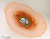 Blown Glass Wall Art Coral Poppy Wall Hanging Decorative Art Glass Sculpture