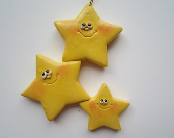 SALE...Personalized Family of 3 Star Christmas Ornament/ family / star