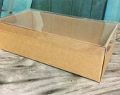 Heavy Kraft Cardboard Boxes set of 10 - Clear Top - Extra Large