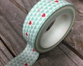 Washi Tape - 15mm - Aqua Pink Hearts Design - Deco Paper Tape No. 262