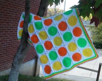 Citrus Crocheted Blanket - Granny Square Blanket - Crochet Afghan - Crochet Baby Blanket - Orange Car Seat Covers - Chunky Crochet Blanket