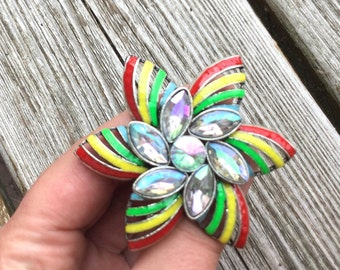 Flower Drawer Knobs - Cabinet Knobs with crystals and rainbow emaille (MK167)