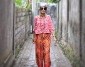 Kadek Wide Leg Culotte Pants,  Sizes XS - 2X, Wide Leg Pants, Javanese Hand Painted Batik, Cotton, My Bali Closet