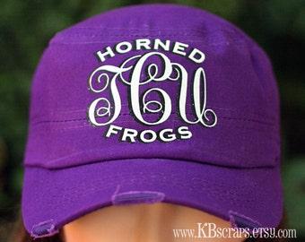 TCU Horned Frogs glitter monogram hat