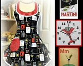 Handmade woman's apron in a festive Martini's print, pin up, over the head, party, Bridal gifts, cocktails,kitchen, hostess