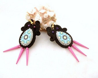 Azulejo earrings , black parme spike , edgy jewelry , gift for mom , french hook earrings , mothers day gift , unique jewelry , MOGADOR