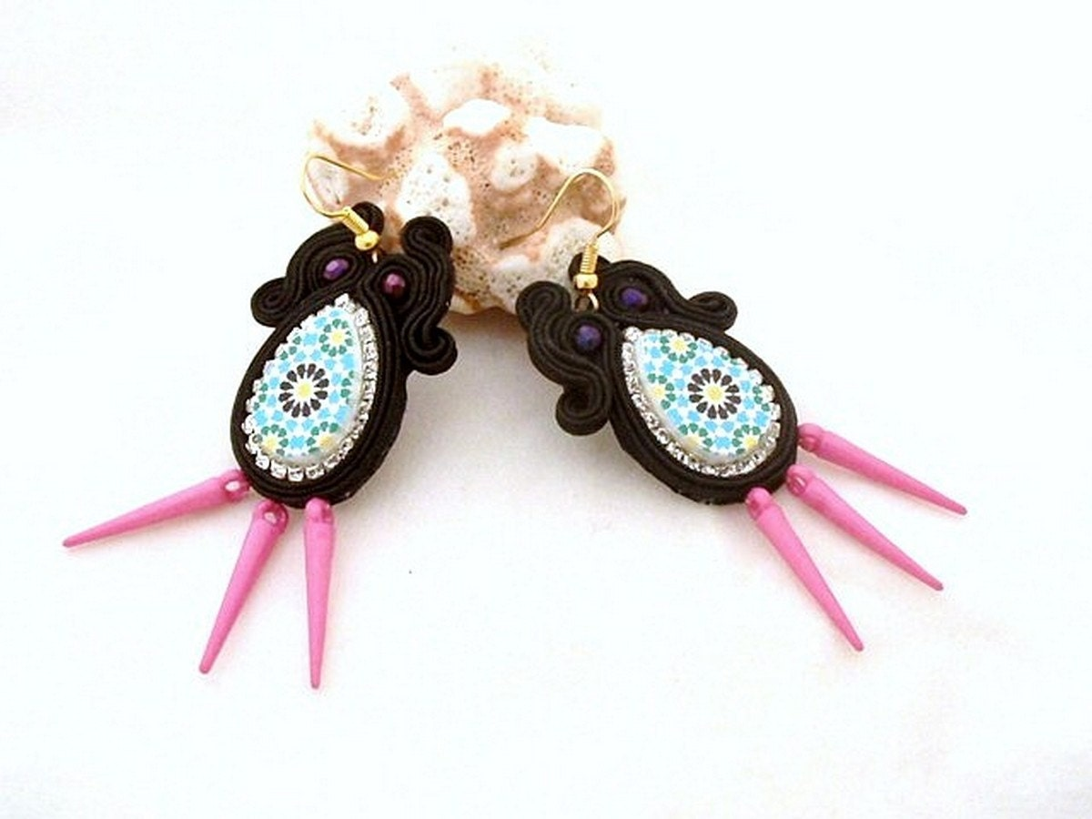 azulejo earrings black parme spike edgy jewelry gift for