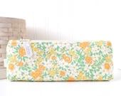 Floral Pencil Pouch Floral Pencil Case Orange and Green Floral Purse Organizer